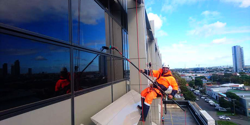 Realm offer the latest high rise pressure cleaning and soft washing for facades
